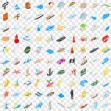100 icônes maritimes réglées, style 3d isométrique Image libre de droits