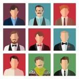 Icônes masculines d'avatar dans le costume différent illustration stock