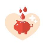 Icônes médicales plates de concept de tirelire comme don du sang Image libre de droits