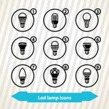 Icônes menées de lampe Photographie stock libre de droits