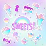 Icônes mignonnes colorées lumineuses de pâtisserie de boulangerie et de dessert des sucreries et des bonbons illustration stock