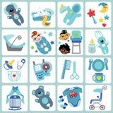 Icônes mignonnes de bandes dessinées pour le bébé garçon Ensemble de soin de bébé Images stock