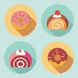 Icônes mignonnes de dessert Photos stock