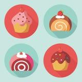 Icônes mignonnes de dessert Photo stock