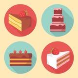 Icônes mignonnes de dessert Images libres de droits