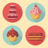 Icônes mignonnes de dessert Image stock