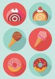 Icônes mignonnes de dessert Photo libre de droits