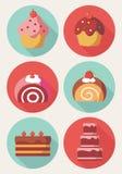 Icônes mignonnes de dessert Photographie stock libre de droits