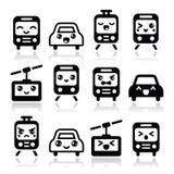 Icônes mignonnes de Kawaii - voiture, autobus, train, tram et gondole Photos libres de droits