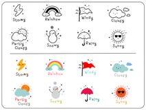 Icônes mignonnes de temps, contour et icône mignonne colorée Photo libre de droits