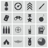 Icônes militaires noires de vecteur Photographie stock