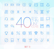 40 icônes minces à la mode ont placé 3 Image libre de droits