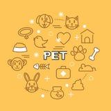 Icônes minimales d'ensemble d'animal familier Images libres de droits