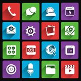 Icônes mobiles d'applications plates Photos libres de droits