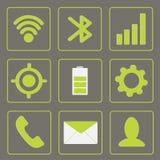 Icônes modernes d'instrument. Ensemble mobile d'icône. Vert et le GR Photographie stock libre de droits