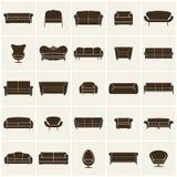Icônes modernes de luxe de sofa et de divan réglées Collection de meubles de vintage Image stock