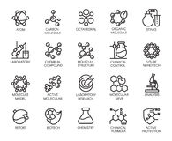 Icônes moléculaires de concept de chimie, de physique et de médecine illustration stock