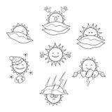 Icônes monochromes avec l'image du soleil par temps différent illustration de vecteur