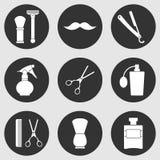 Icônes monochromes de Barber Shop réglées Images libres de droits