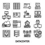Icônes monochromes de Datacenter réglées illustration stock