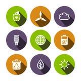 Icônes multicolores d'eco plat de vecteur réglées Image libre de droits