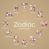 Icônes multicolores de symbole de zodiaque Photo libre de droits
