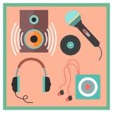 Icônes musicales réglées dans le style plat Photos stock