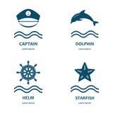 Icônes nautiques et de mer, insignes et labels Photographie stock
