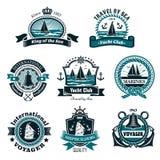 Icônes nautiques et ensemble de symboles marin de vecteur Images stock