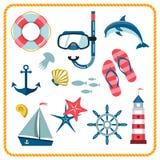 Icônes nautiques réglées Image stock