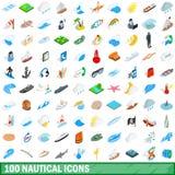 100 icônes nautiques réglées, style 3d isométrique Photographie stock