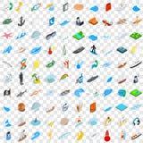 100 icônes nautiques réglées, style 3d isométrique Photo libre de droits