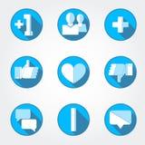 Icônes nettes sociales réglées Photos libres de droits