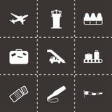 Icônes noires d'aéroport de vecteur réglées Photographie stock libre de droits