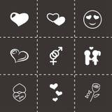 Icônes noires d'amour de vecteur réglées Photographie stock
