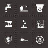 Icônes noires d'eco de vecteur réglées Image stock