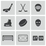 Icônes noires d'hockey de vecteur réglées Image libre de droits