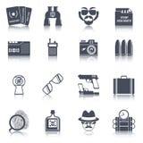 Icônes noires d'instruments d'espion réglées Images stock