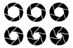 Icônes noires d'obturateur de caméra de vecteur réglées Photo stock