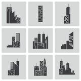 Icônes noires de bâtiment de vecteur réglées illustration stock