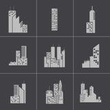 Icônes noires de bâtiment de vecteur réglées illustration de vecteur