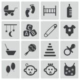 Icônes noires de bébé de vecteur Image stock