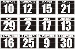 Icônes noires de calendrier Images stock
