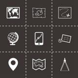 Icônes noires de carte de vecteur réglées Photographie stock