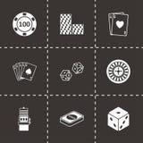 Icônes noires de casino de vecteur réglées Photo libre de droits