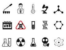 Icônes noires de chimie réglées Photos stock