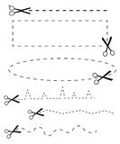 Icônes noires de ciseaux de vecteur réglées sur le blanc Photographie stock