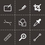 Icônes noires de conception graphique de vecteur réglées Photos libres de droits