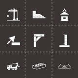 Icônes noires de construction de vecteur réglées Photographie stock