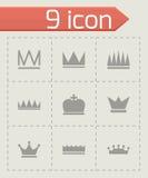 Icônes noires de couronne de vecteur réglées Photo libre de droits